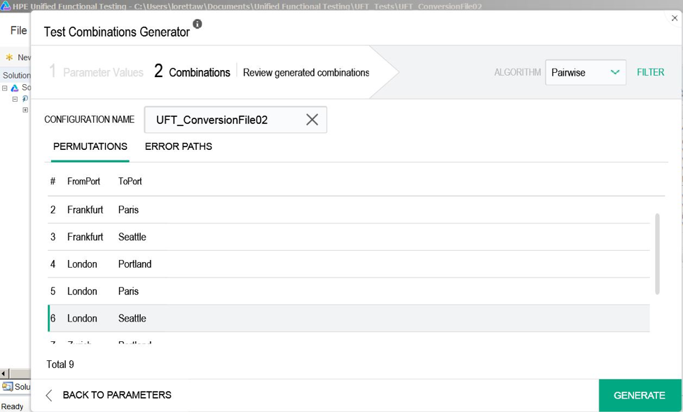 Click view combinations to see the data iterations the Generator is going to provide (add or remove values as you see fit)